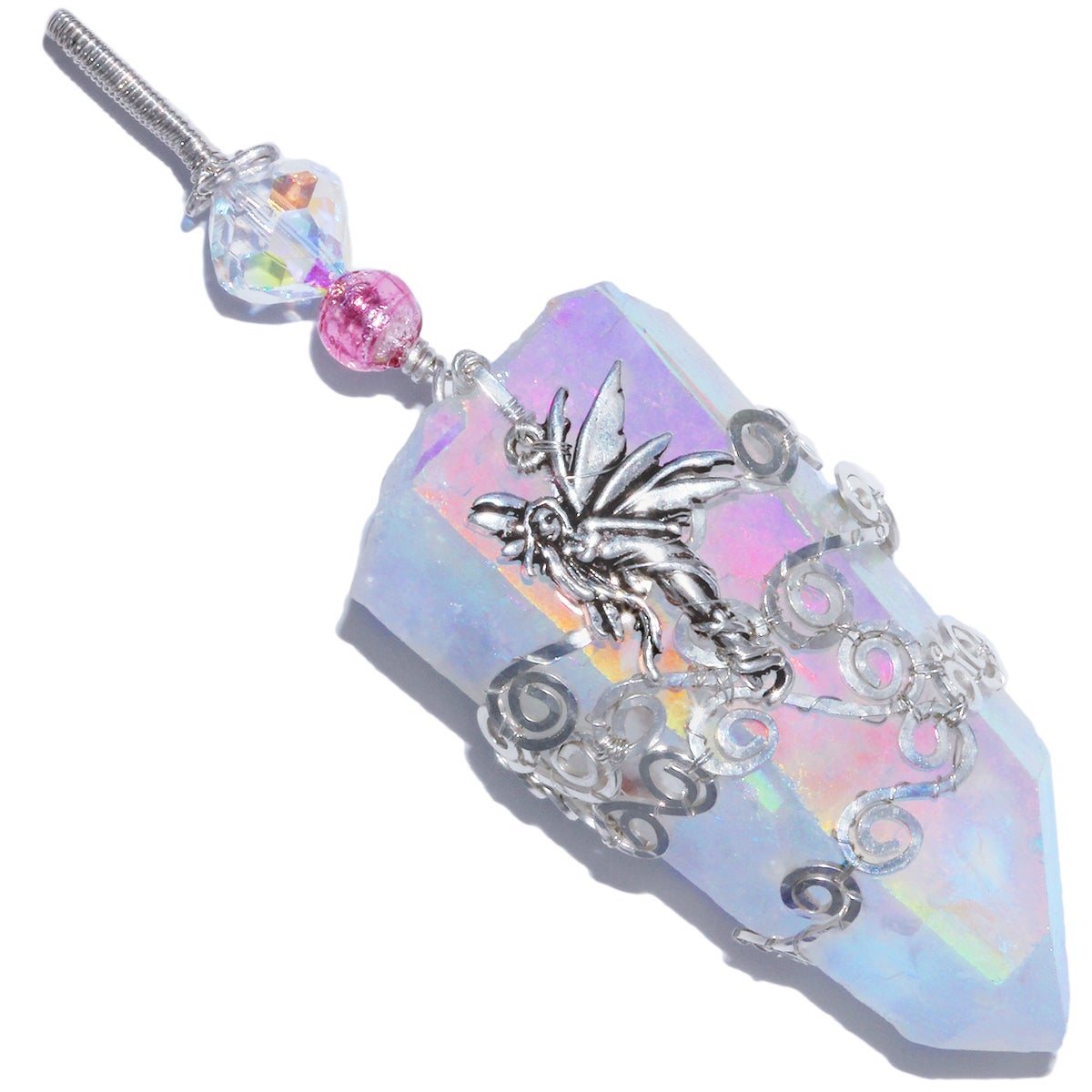 Angel Aura Quartz Crystal Fairy Filigree Pendant