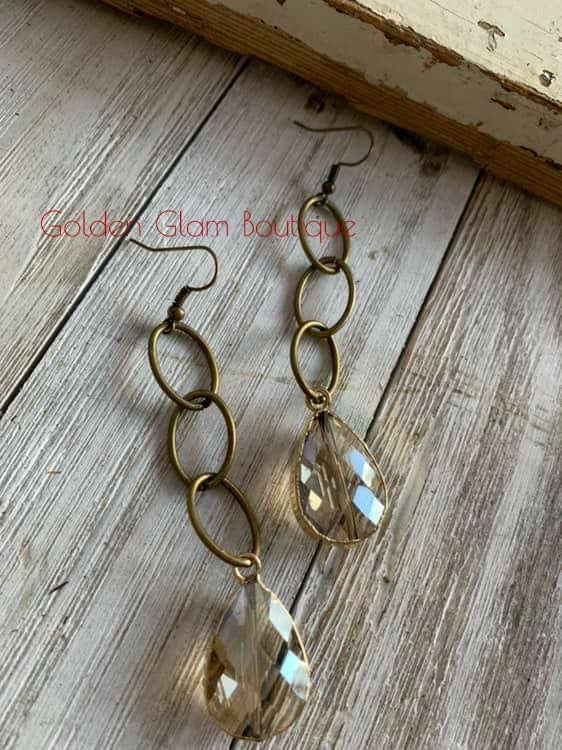 Image of Stone Antique Earrings - Gold