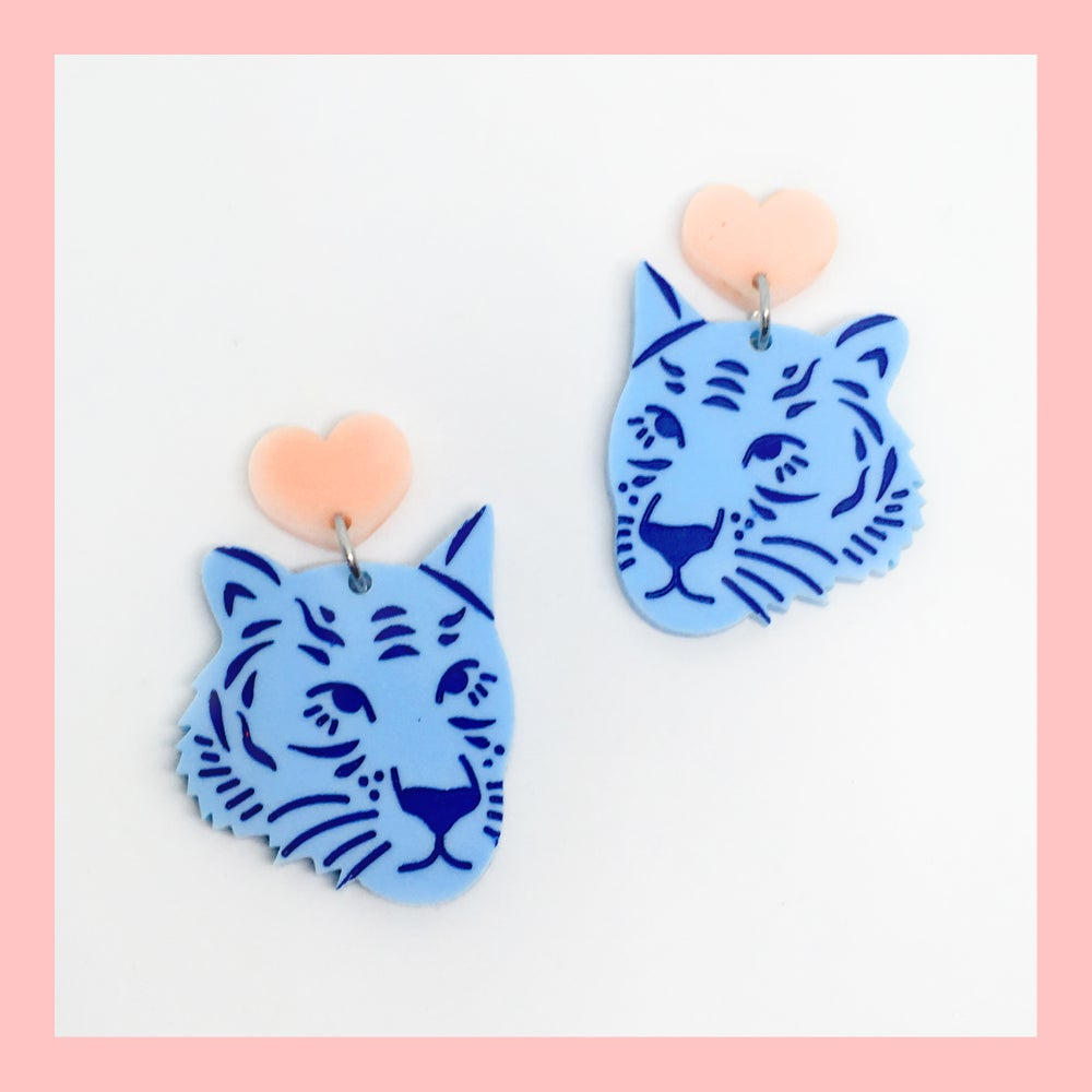 Image of Tiger Face Dangles (Pastel Blue/Peach-Pink)