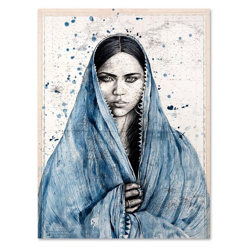 "Image of Paper Art Print - ""Mamta en indigo"""
