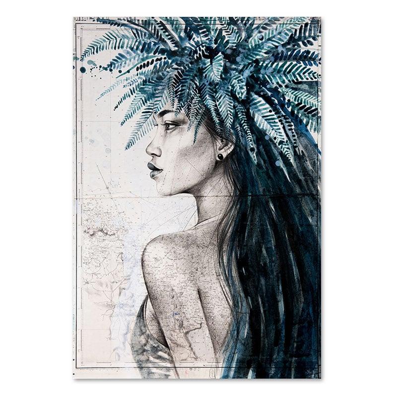 """Image of Paper Art Print - """"Vahiné à la couronne de fougères"""""""