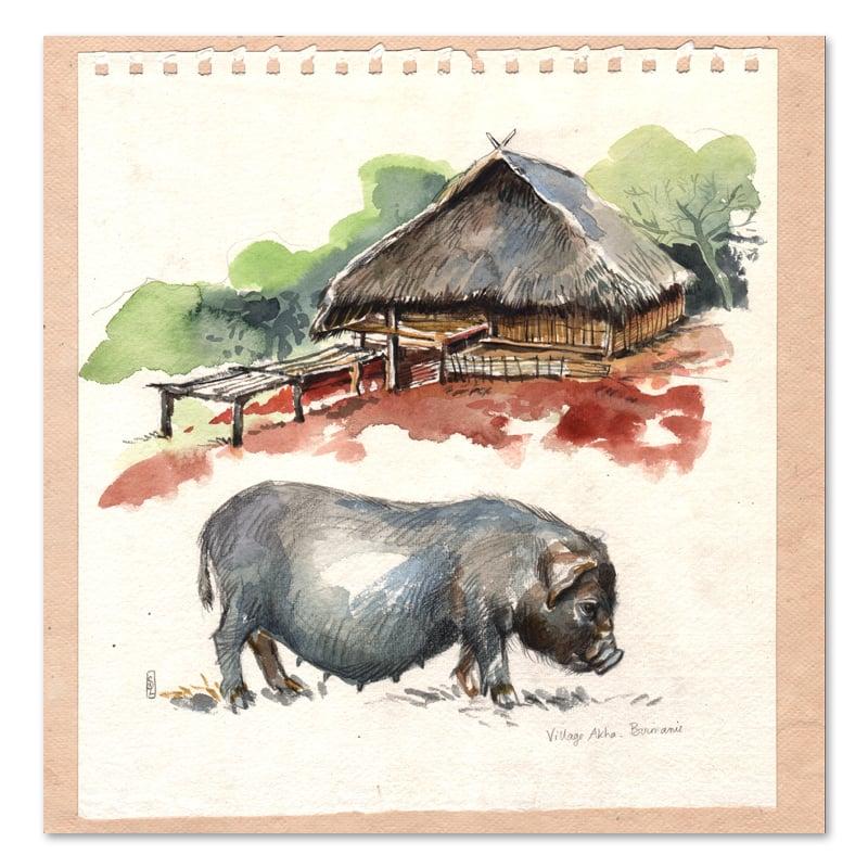 """Image of Original Painting - """"Cochon et maison Akha"""" - 30x30 cm"""