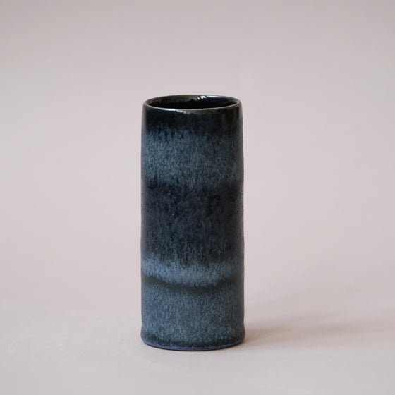 Image of MINI CYLINDER IN MIDNIGHT BLUE GLAZE