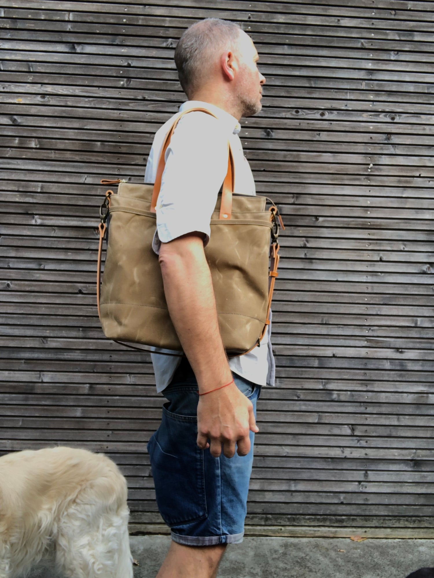 Image of Waxed canvas tote bag / office bag with leather handles and cross body strap
