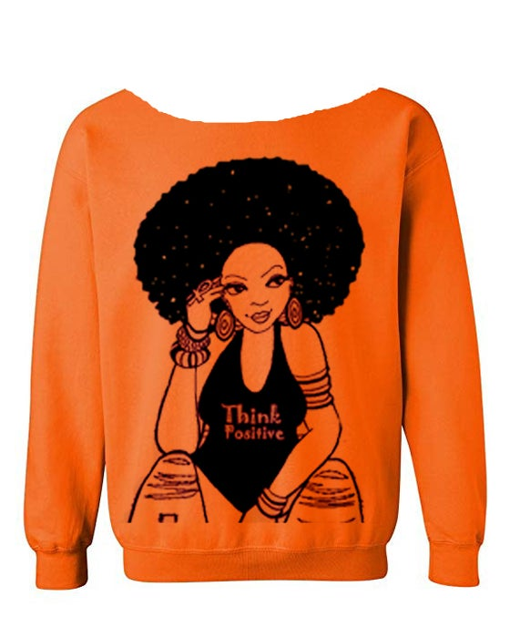 "Image of The ""Think Positive"" Wideneck Scoopneck in Orange"