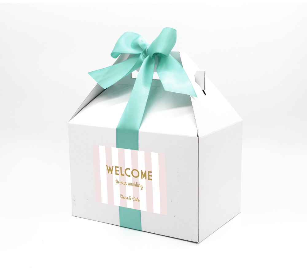 Image of Custom Pink & White Wedding Welcome Box