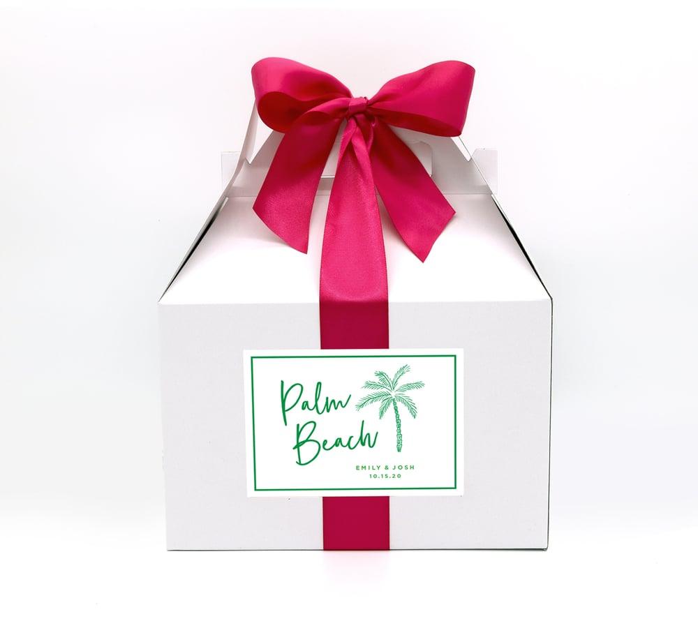 Image of Custom Palm Tree Wedding Welcome Box