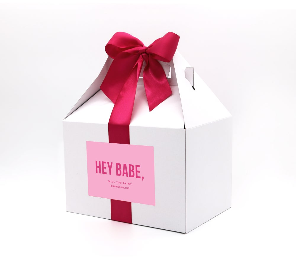 Image of Custom Hey Babe, Will You Be My Bridesmaid Proposal Box