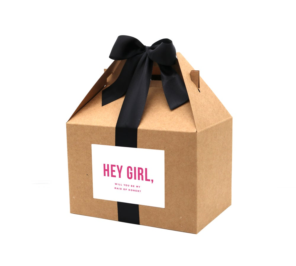 Image of Custom Hey Girl, Will You Be My Maid of Honor Proposal Box