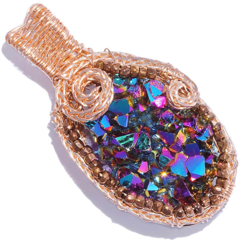 Image of Aura Amethyst Druzy Handmade Pendant