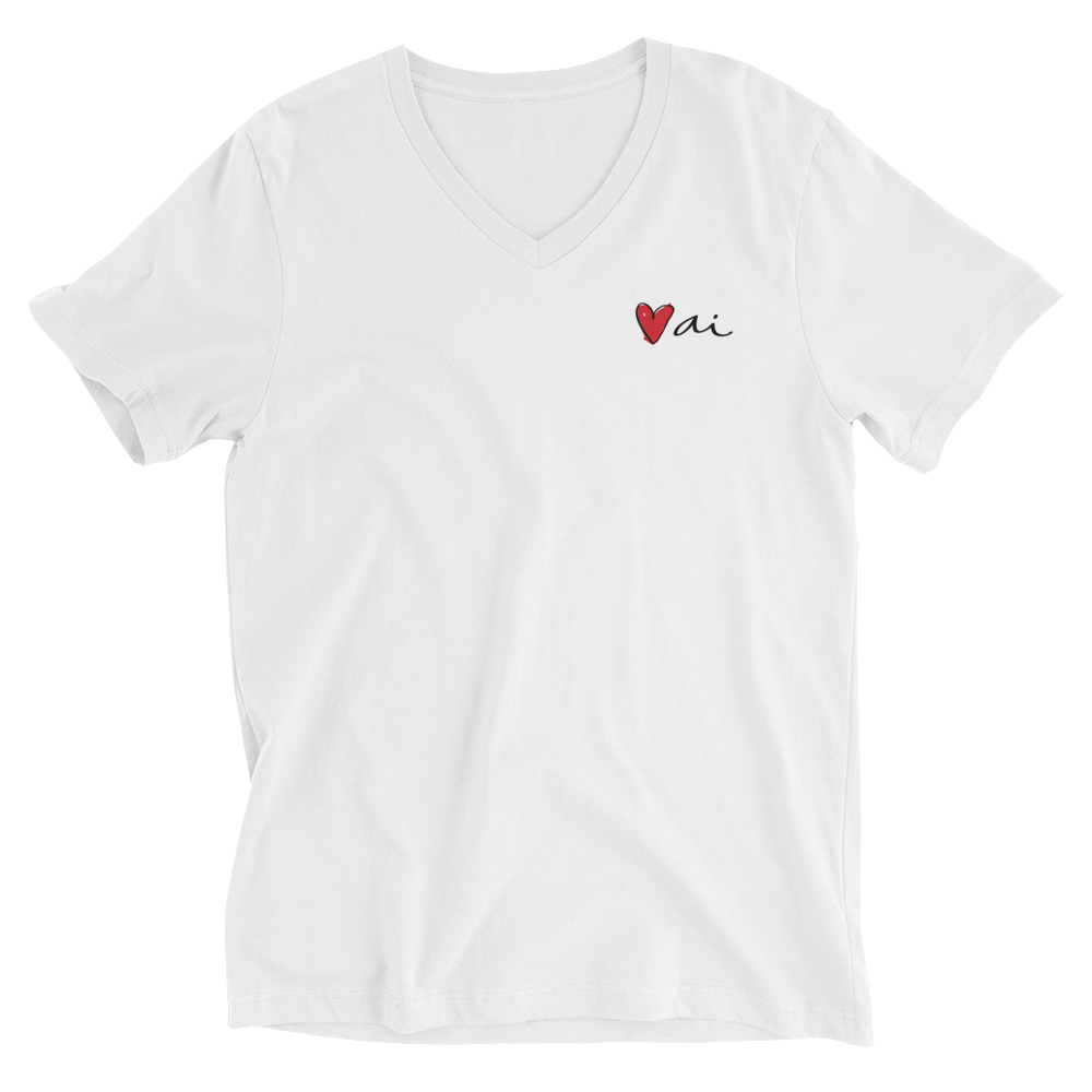 Image of Ai Logo Printed V-Neck T-Shirt