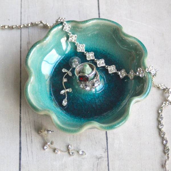 Image of Ring Holder in Crackled Turquoise Glaze Handmade Pottery Gift Made in USA
