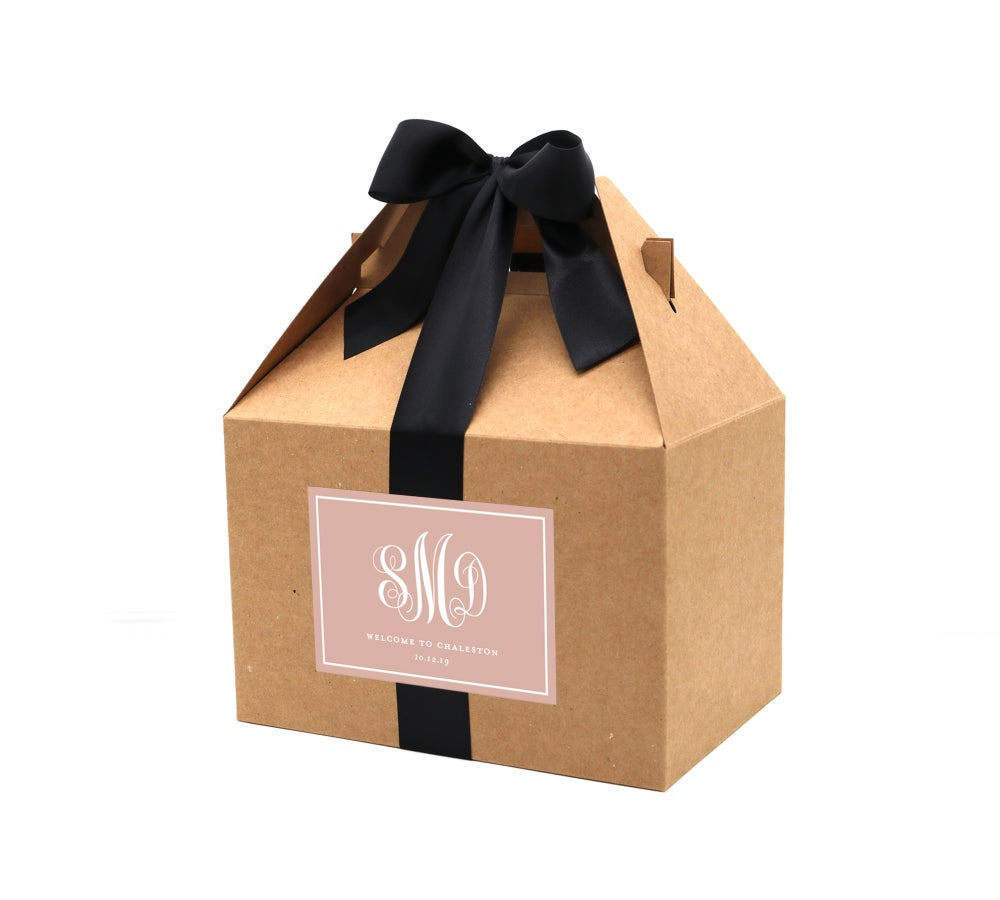 Image of Custom Script Monogram Wedding Welcome Box