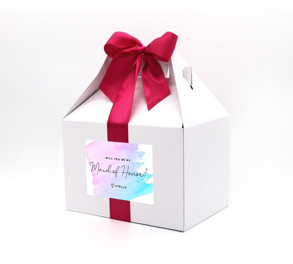 Image of Custom Watercolor Will You Be My Maid of Honor Proposal Box