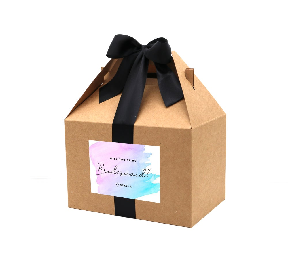Image of Custom Watercolor Will You Be My Bridesmaid Proposal Box