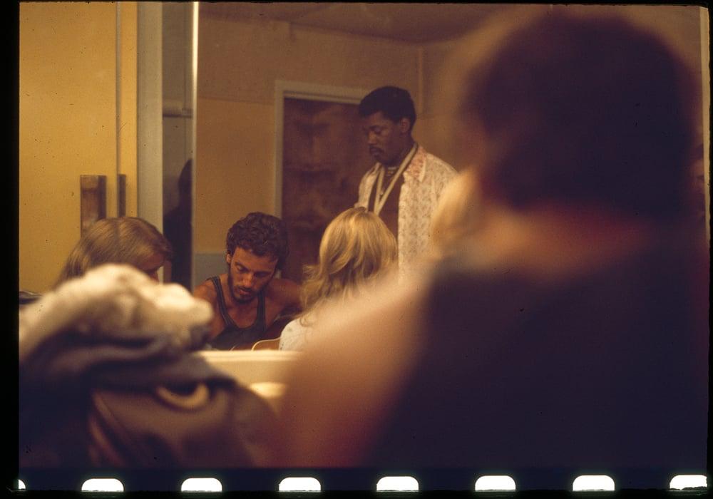 Image of Bruce Springsteen backstage August 1974