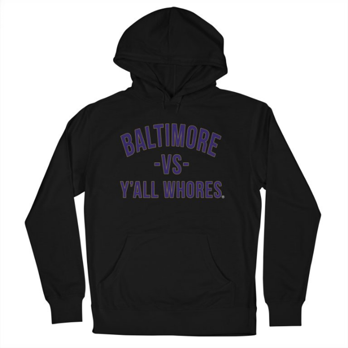 Image of Baltimore Vs Y'all Whores Pullover Hoodie - Purple on Black