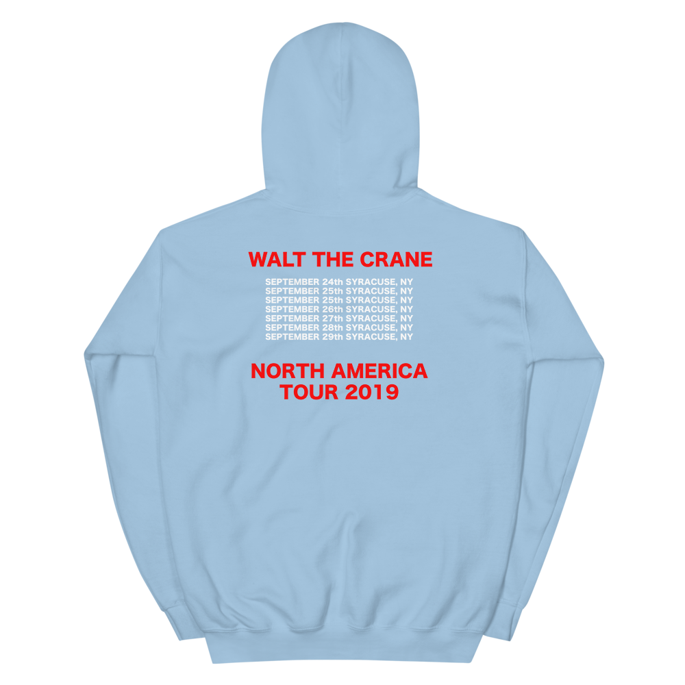 Image of WALT THE CRANE WORLD TOUR HOODIE OCEAN BLUE