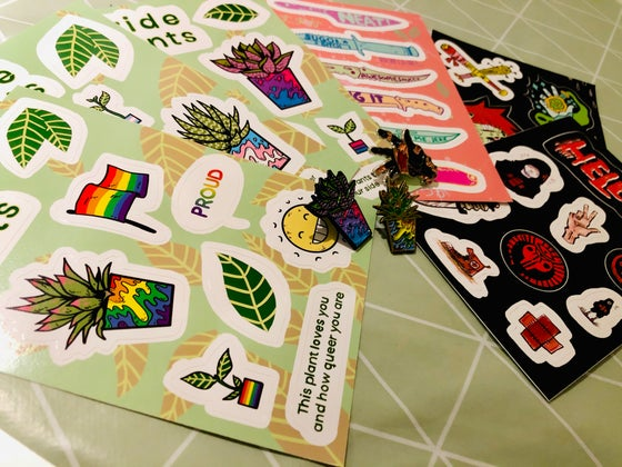 Image of Enamel pins and Sticker sheets