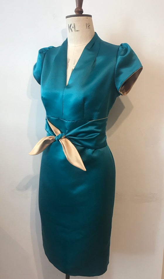 Image of Satin blitz tie waist dress