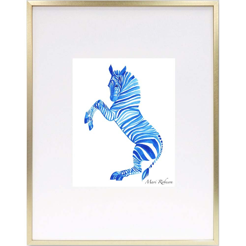 Image of Blue Zebra Art Print