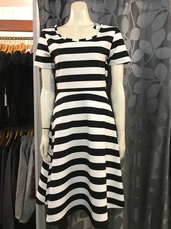 Image of KylieJane Isabelle dress- black and white stripe ponti knit