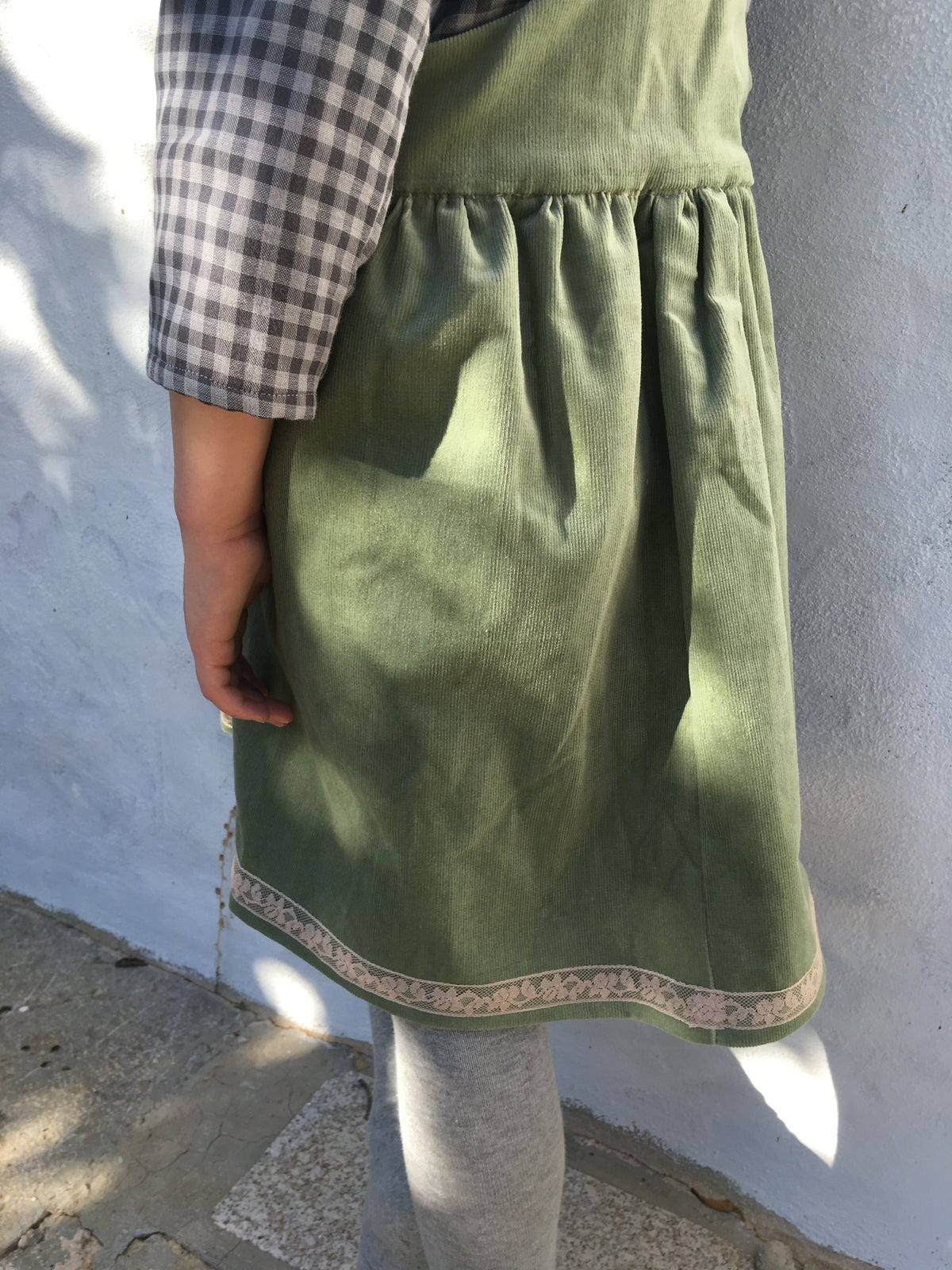 Pinafore Dress-pale green corduroy