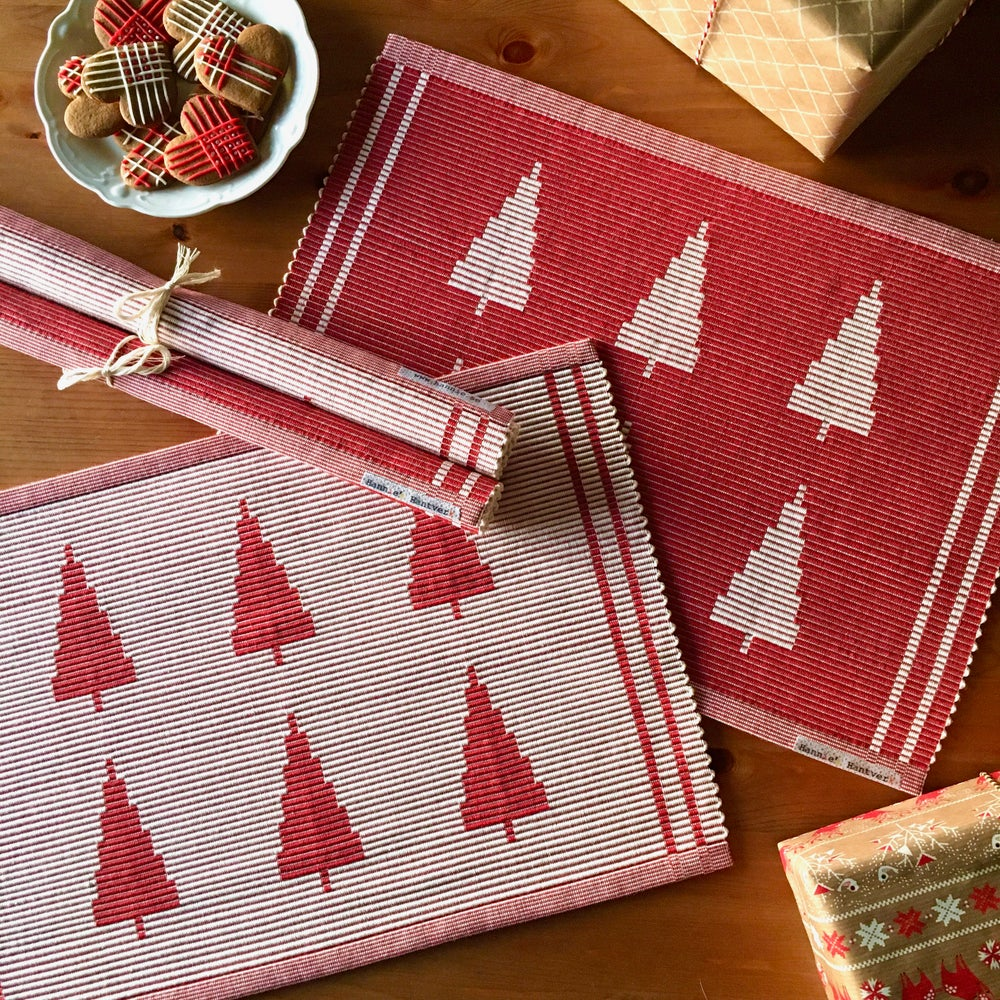 Image of Placemat Gran - red & white