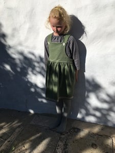Image of Pinafore Dress-pale green corduroy