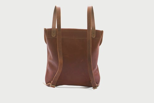 Image of Minimal Backpack in Cognac Leather