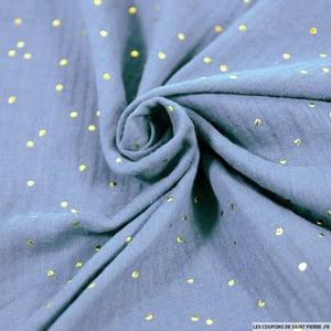 Image of Bloomer double gaze gris bleu pois dorés Oeko-Tex