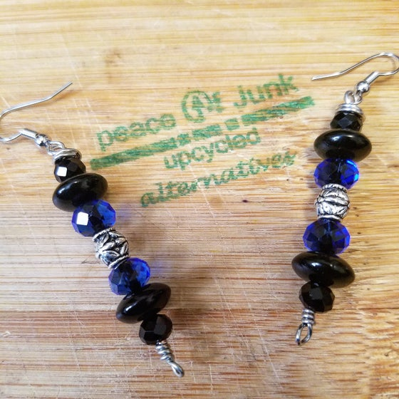 Image of Black & Royal Blue Silver Vintage Earrings