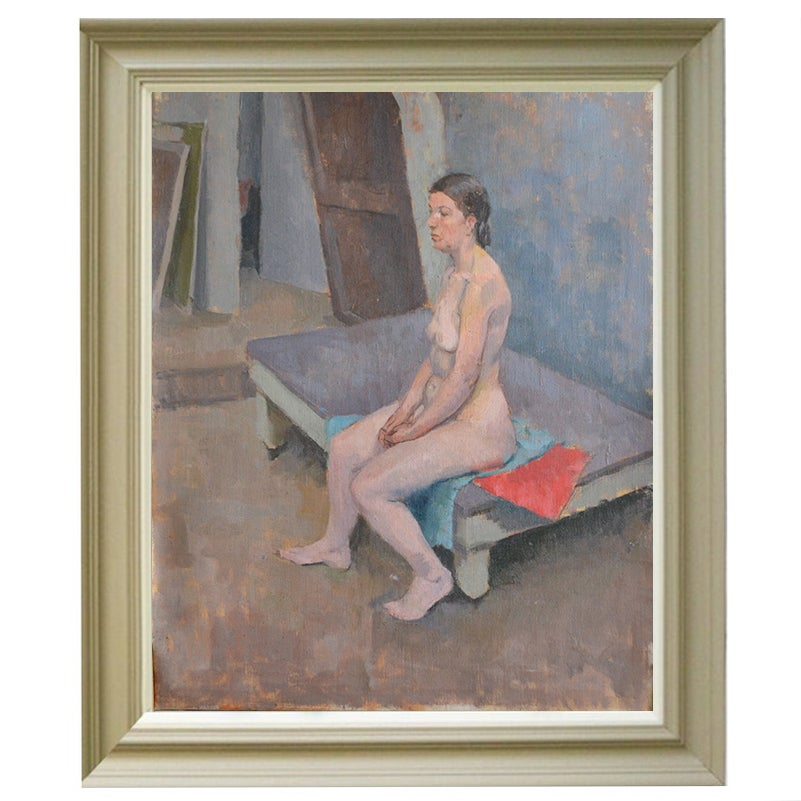 Image of 'Nude Sitting on a Red Cloth,' Philippa Maynard Romer (1929-2010)