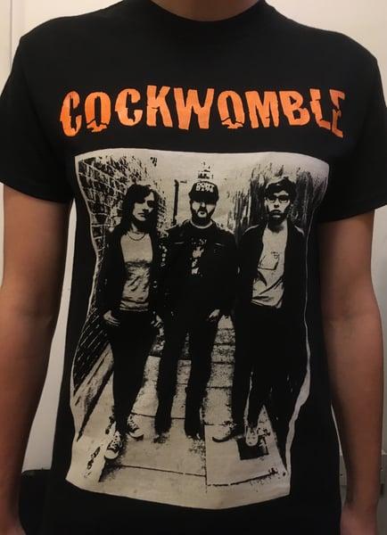 Image of Orange 'Cockwomble' logo album cover - Black T-shirt
