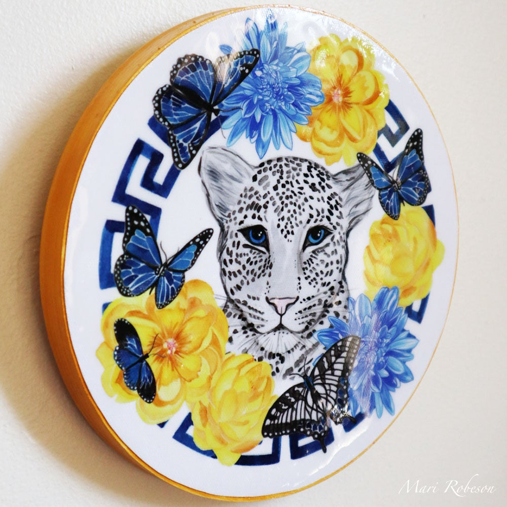 Image of White Leopard - Resin Art Plaque