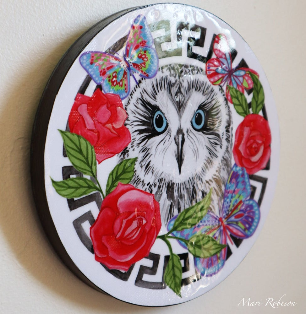 Image of Snow Owl - Resin Art Plaque