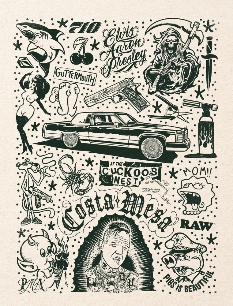 Image of COSTA MESA Tattoo Flash 18x24 inch print by Ed Hume
