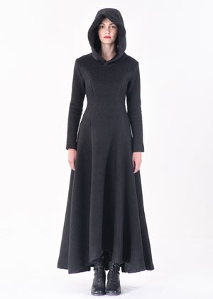 Image of Aster Hooded Long Dress in Heavy Wool