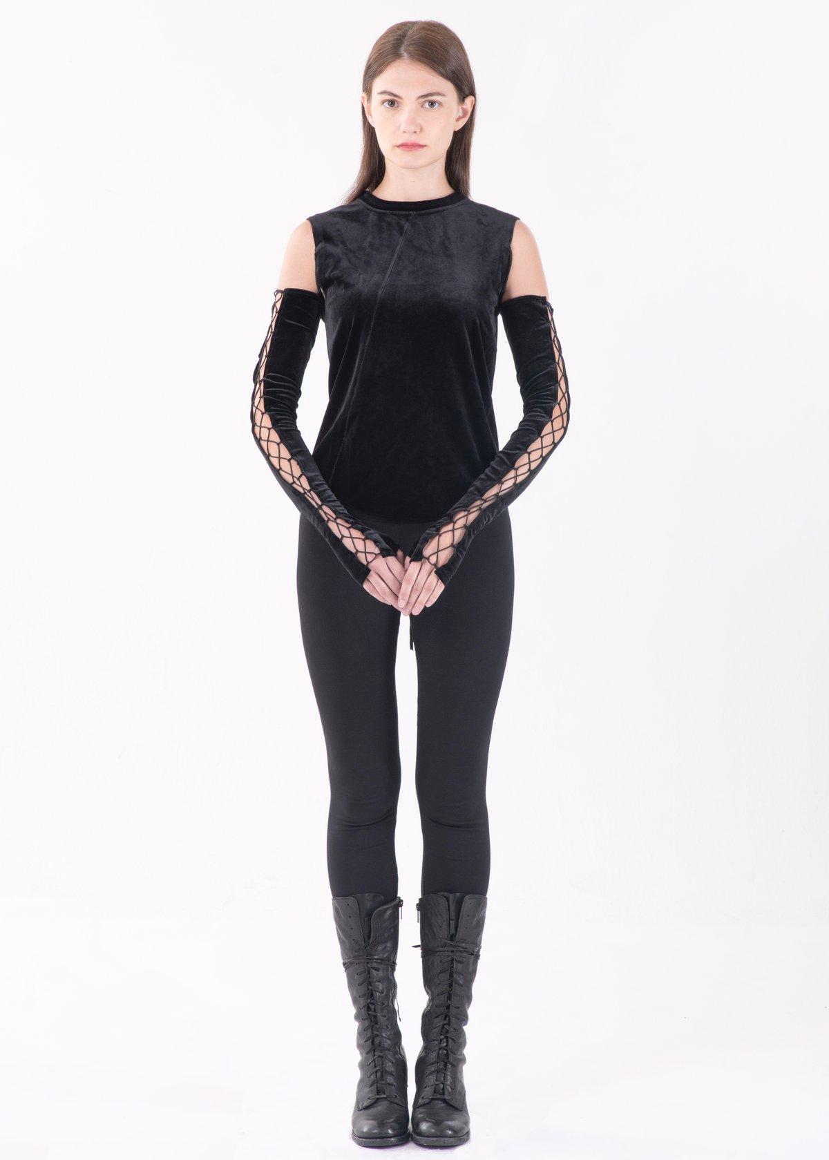Image of Lace Up Arm Gloves in Black Velvet