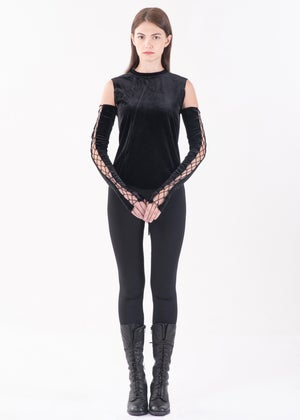 Image of Lace Up Arm Gloves in Black Velvet