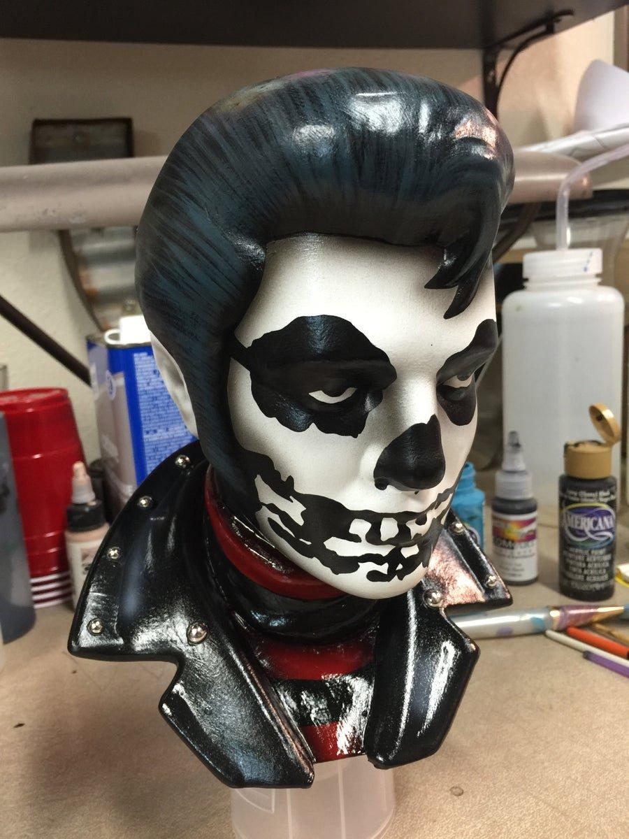 Image of PRE ORDER Crimson Red and Black Shirt Ceramic Elvis Bust