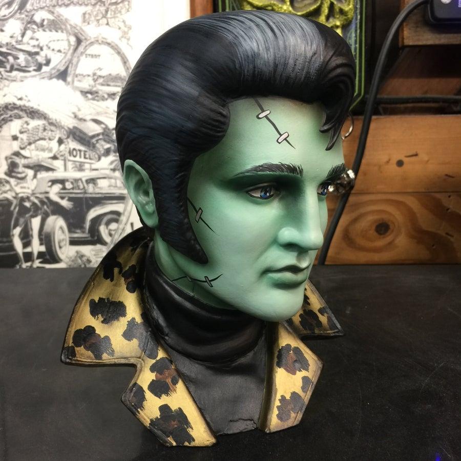 Image of PRE ORDER Leopard Collar Zombie Frankenstein Ceramic Elvis Bust