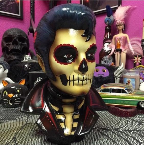 Image of PRE ORDER Red Santa Muerte Ceramic Elvis Bust