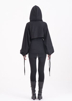 Image of  Hoodie With Self-tie With Overlong  & Puff Sleeves