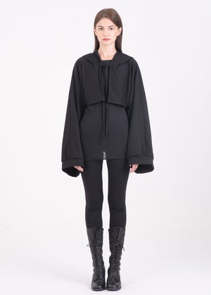 Image of Hooded Shrug With Overlong  & Puff Sleeves