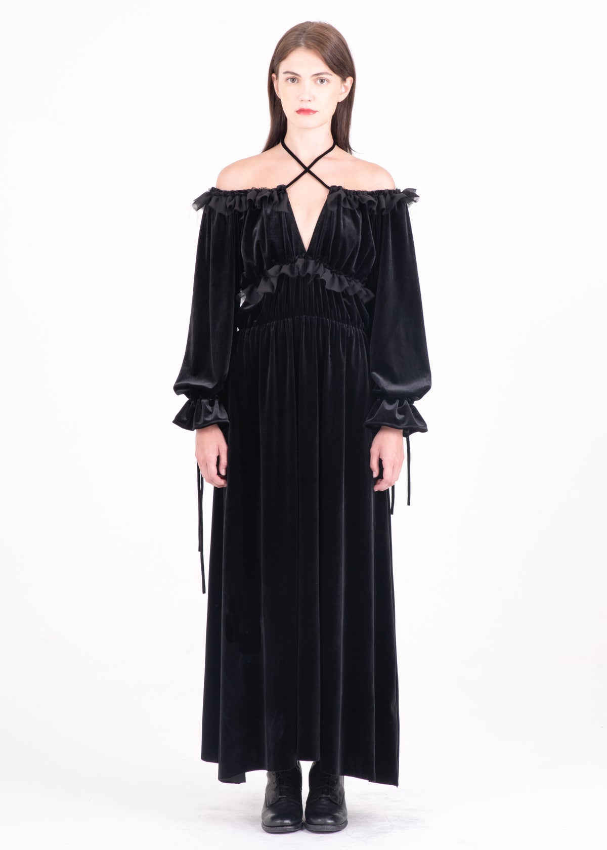 Image of Mona Lace Up Long Dress in Black Velvet