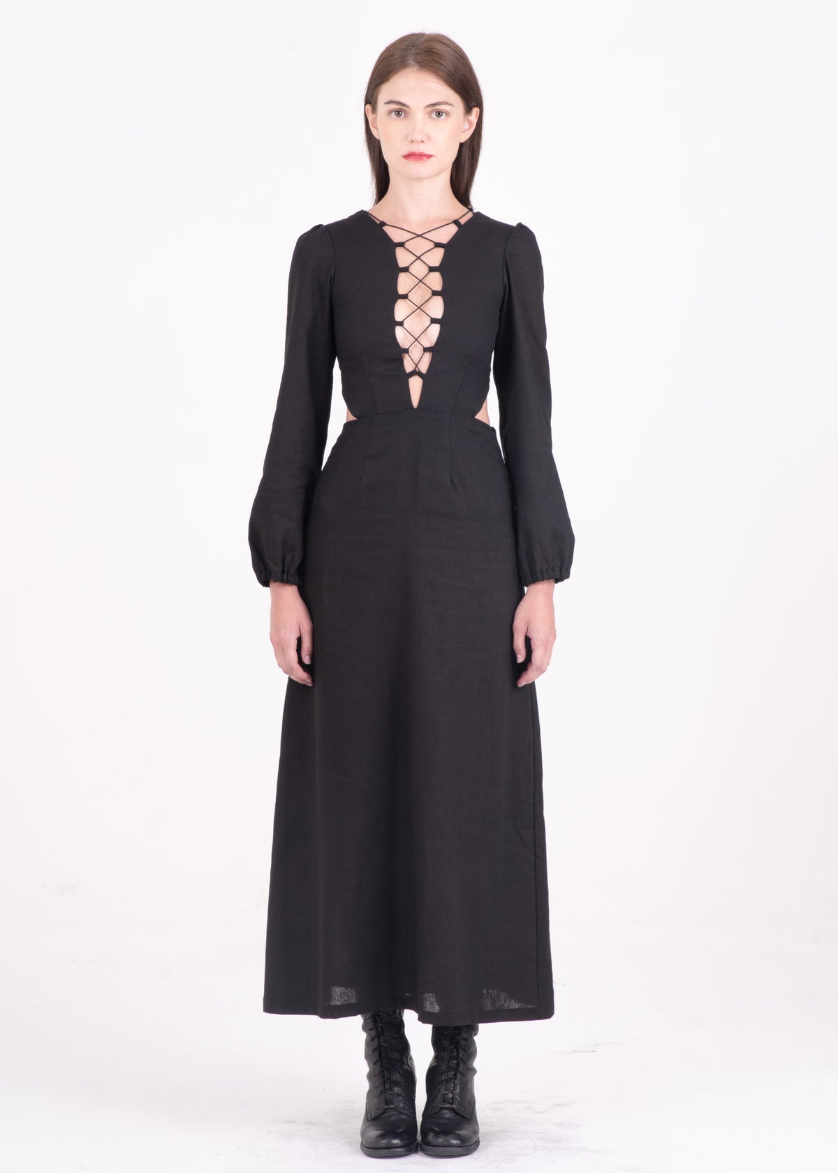 Image of Lace Up Midi Dress