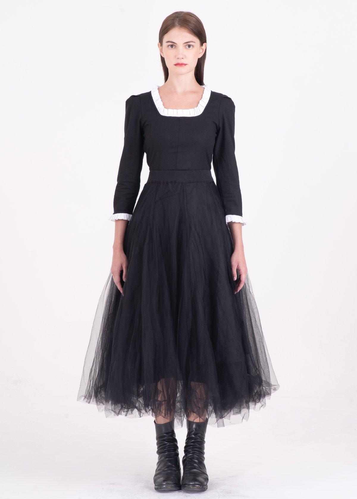 Image of Quadruple Layered Tulle Skirt Black