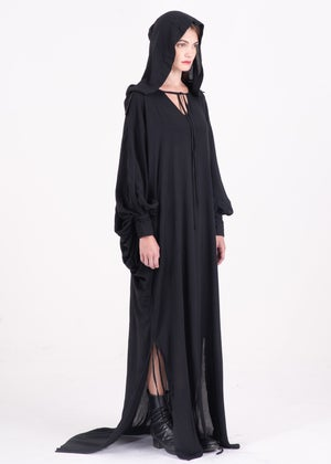 Image of  Two Way Hooded Long Gown With Puff Sleeves