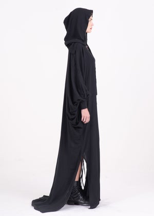 Image of  Two Way Hooded Long Gown With Puff Sleeves - PLEASE INQUIRE